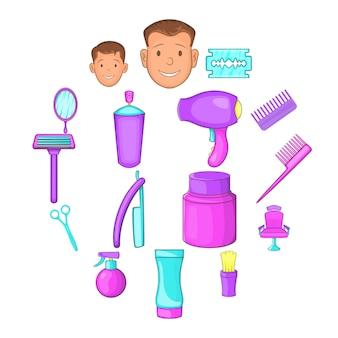 Zestaw ikon dla zakładów fryzjerskich, stylu cartoon