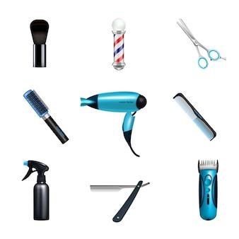Zestaw ikon dla zakładów fryzjerskich
