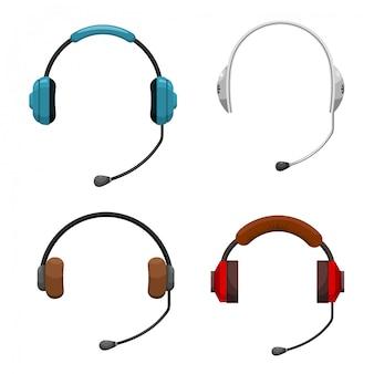 Zestaw ikon dla zestawu słuchawkowego
