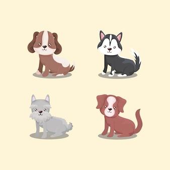 Zestaw ikon dla zwierząt domowych, szczenięta różnych psów siedzi ilustracja zwierząt
