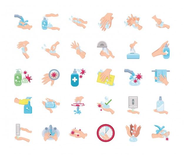 Zestaw ikon dłoni myje na białym tle