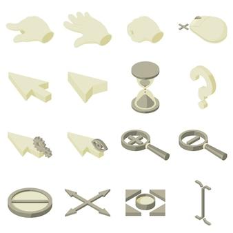 Zestaw ikon dłoni strzałki kursora. izometryczne ilustracja 16 ikon strzałki kursora wektor dla sieci web