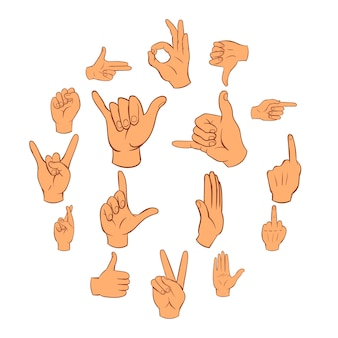 Zestaw ikon dłoni