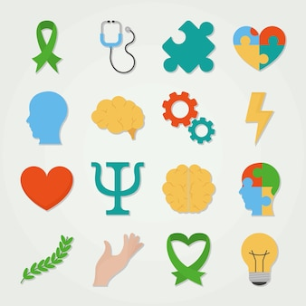 Zestaw ikon dnia zdrowia psychicznego