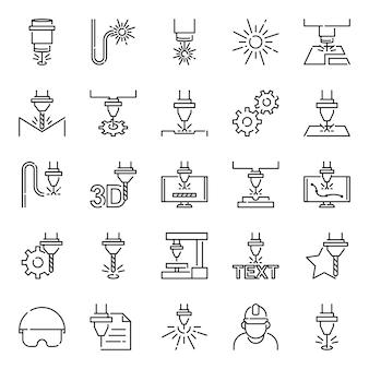 Zestaw ikon do cięcia laserowego, z ikoną stylu konturu