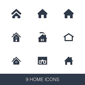 Zestaw ikon do domu. proste znaki glifów. szablon symbol domu. uniwersalna ikona stylu, może być używana w interfejsie internetowym i mobilnym