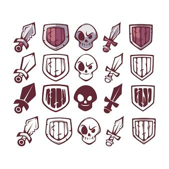 Zestaw ikon do gry, miecz, czaszka i tarcza do gry i projektowania interfejsu użytkownika