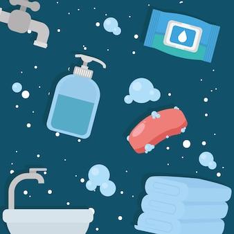 Zestaw ikon do mycia rąk