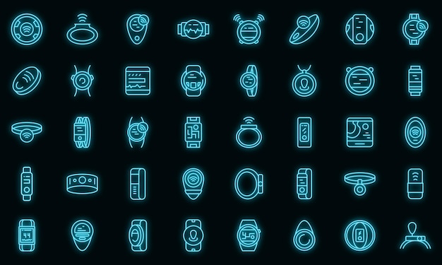 Zestaw ikon do noszenia urządzenia śledzącego. zarys zestaw poręcznych trackerów wektorowych ikon w kolorze neonowym na czarno