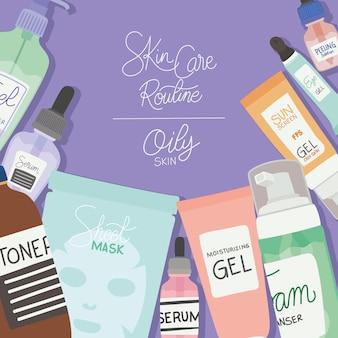 Zestaw ikon do pielęgnacji skóry, rutyny do pielęgnacji skóry i tłustej skóry napis na fioletowej ilustracji