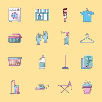 Zestaw ikon do prania czyszczenie delikatne