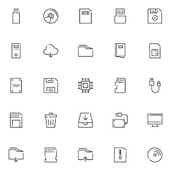Zestaw ikon do przechowywania danych, ze stylem ikony konspektu