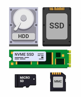Zestaw ikon do przechowywania na komputerze, hdd, ssd i micro sd. ilustracja płaski na białym tle w tle