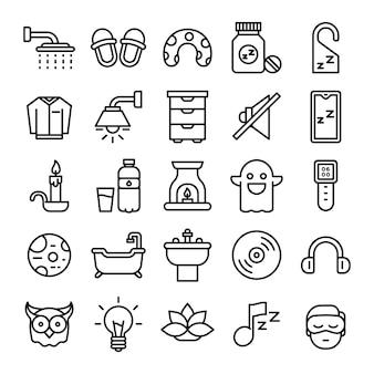 Zestaw ikon do spania. kolekcja pojedyncze symbole spania. element ikon graficznych