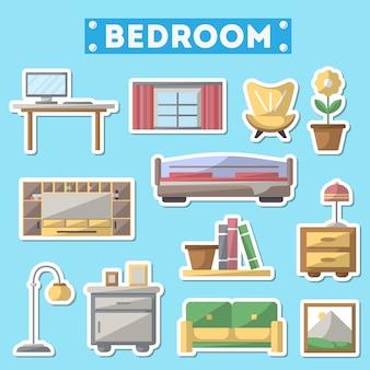Zestaw ikon do sypialni w stylu płaski