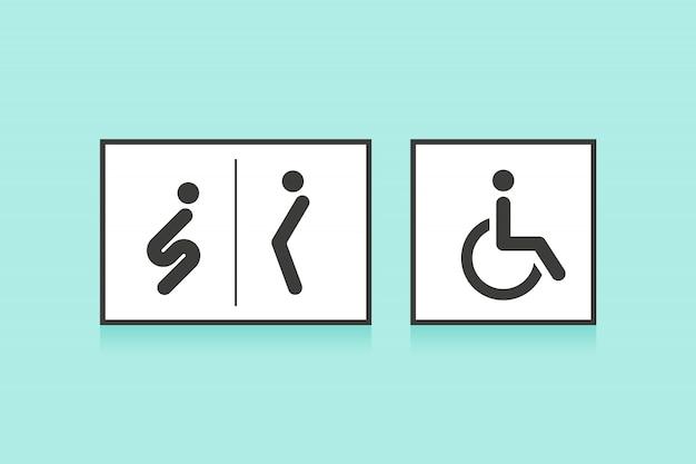 Zestaw ikon do toalety lub toalety. mężczyzna, kobieta i wózek inwalidzki symbol osoby