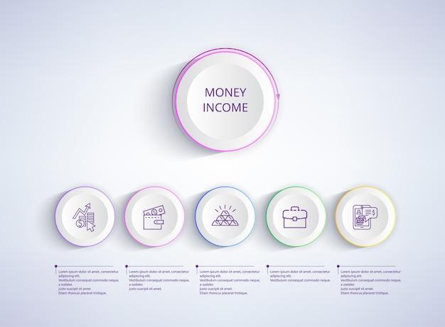 Zestaw ikon dochodu pieniądze