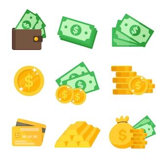Zestaw ikon dolara. wektor wartości dolara portfel i karta kredytowa pomysły na wydatki.