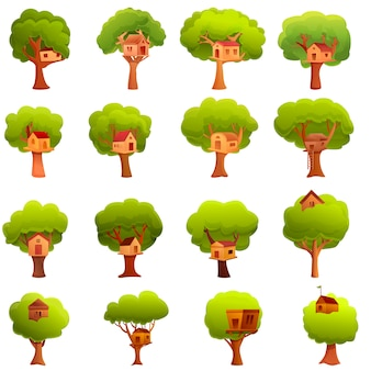 Zestaw ikon dom na drzewie, stylu cartoon