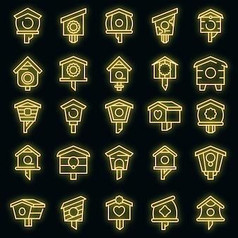 Zestaw ikon dom ptaków. zarys zestaw ikon wektorowych domu ptaka neoncolor na czarno