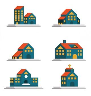 Zestaw ikon domów. nieruchomości i architektura. płaski element konstrukcyjny. wektor