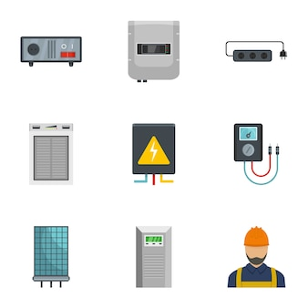 Zestaw ikon domowych elektryka, stylu cartoon