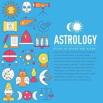 Zestaw ikon domu astrologii. koncepcja elementów horoskopu.
