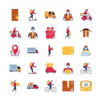 Zestaw ikon dostawy i transportu towarów