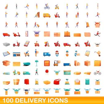 Zestaw ikon dostawy. ilustracja kreskówka ikony dostawy ustawione na białym tle