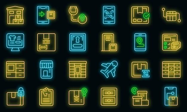 Zestaw ikon dostawy paczek samoobsługowych wektor neon