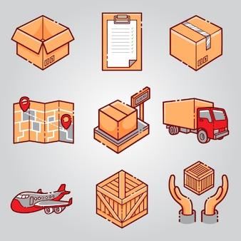 Zestaw ikon dostawy przesyłki kurierskiej