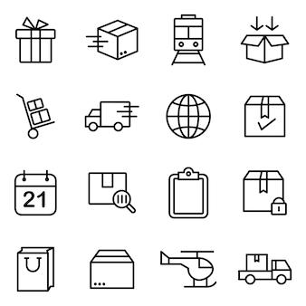 Zestaw ikon dostawy, styl ikony konspektu