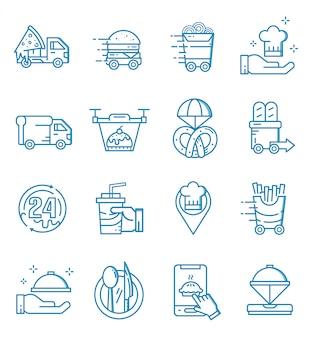 Zestaw ikon dostawy żywności w stylu konspektu