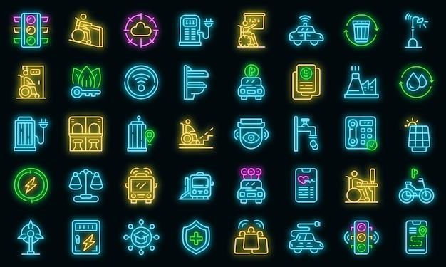 Zestaw ikon dostępnego środowiska. zarys zestaw ikon wektorowych dostępnych środowisk w kolorze neonowym na czarno