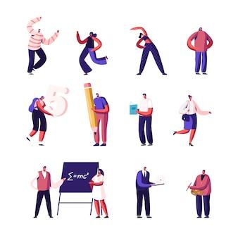 Zestaw ikon drobne postacie męskie i żeńskie z wielkim piórem, ludzie tańczą, trening sportowy, studenci studiują matematykę lub fizykę na uniwersytecie, biznesmen i artysta. ilustracja kreskówka wektor