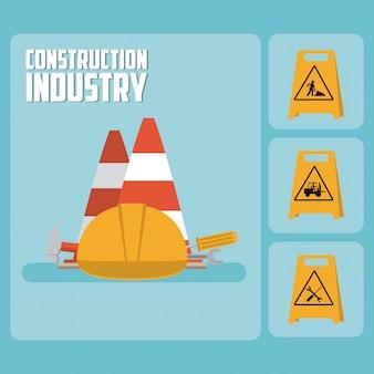 Zestaw ikon drogowskaz budowy