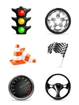 Zestaw ikon drogowych