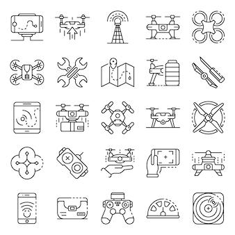 Zestaw ikon drone. zarys zestaw ikon wektorowych drone