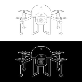 Zestaw ikon dronów. graficzne drony czarno-biały kontur kontur obrysu ilustrują