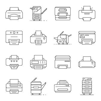 Zestaw ikon drukarki. zarys zestaw ikon wektorowych drukarki