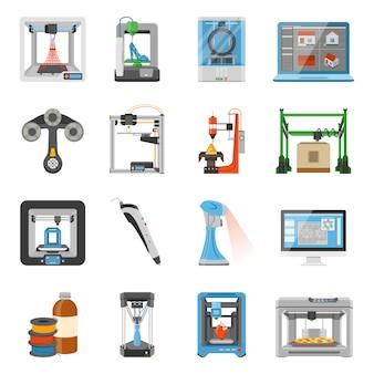 Zestaw ikon drukowania 3d