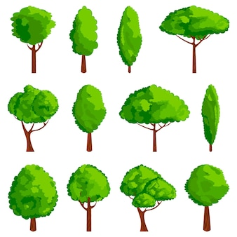 Zestaw ikon drzewa kreskówka. element projektu gry.
