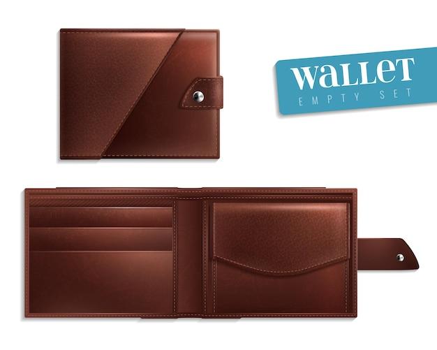 Zestaw ikon dwóch realistycznych otwartych zamkniętych pustych portfeli skórzanych i stylowych dla mężczyzn ilustracji wektorowych
