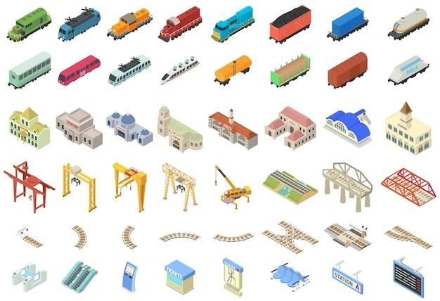 Zestaw ikon dworca kolejowego. izometryczny zestaw ikon stacji kolejowej na białym tle