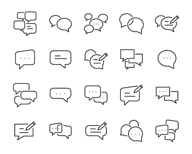 Zestaw ikon dymka, takich jak rozmowa, czat