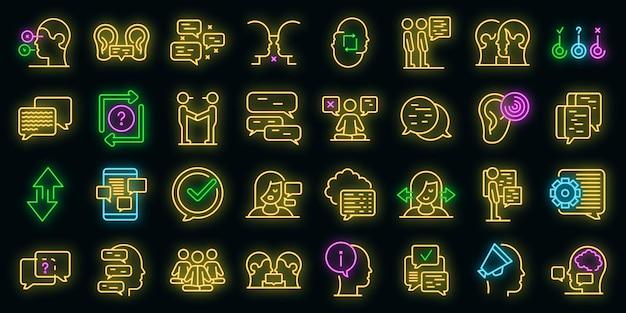 Zestaw ikon dyskusji. zarys zestaw ikon wektorowych dyskusji w kolorze neonowym na czarno
