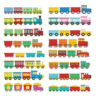 Zestaw ikon dzieci zabawki pociągu
