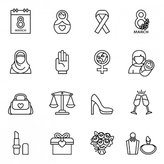 Zestaw ikon dzień kobiet z białym tłem.