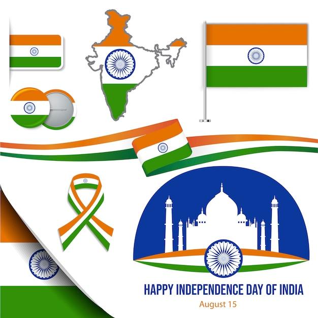 Zestaw ikon dzień niepodległości indii
