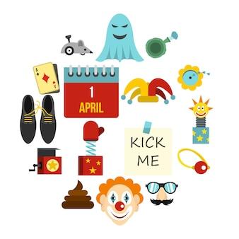 Zestaw ikon dzień prima aprilis, płaski